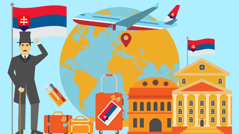 Welcome to Slovakia postcard. Travel and safari concept of Europe world map vector illustration with national flag. Welcome background vector illustration