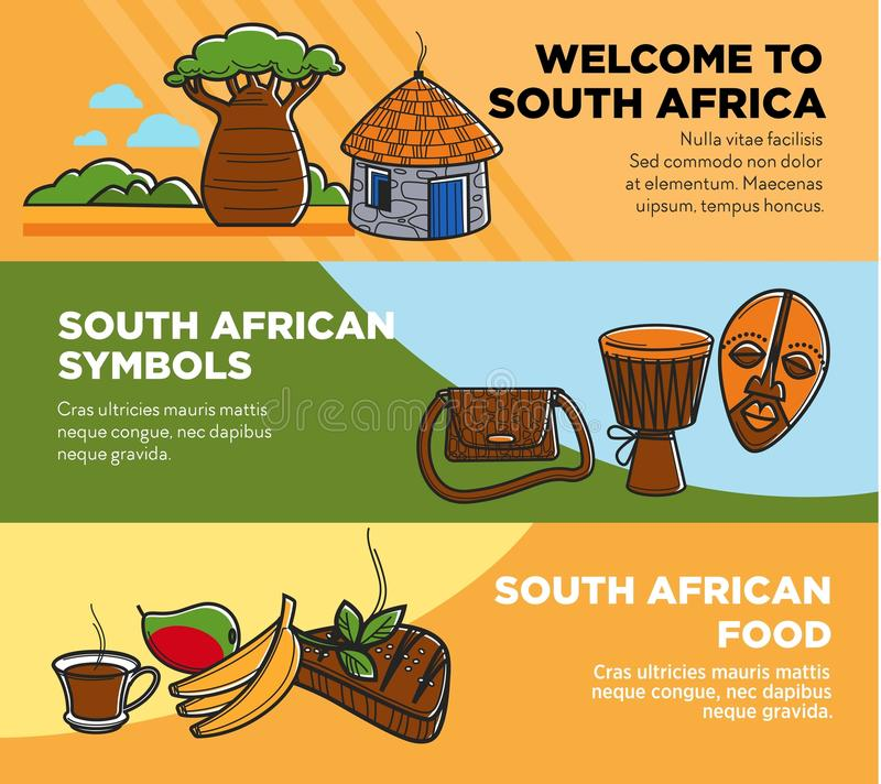 Download Welcome To South Africa Promotional Travel Agency Posters Set Stock Vector