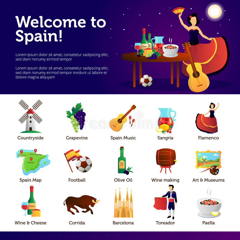 Welcome To Spain Infographic Symbols Poster Stock Vector