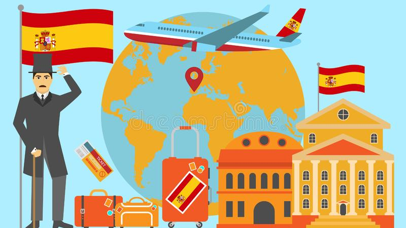 Welcome to Spain postcard. Travel and safari concept of Europe world map vector illustration with national flag. Welcome background stock illustration