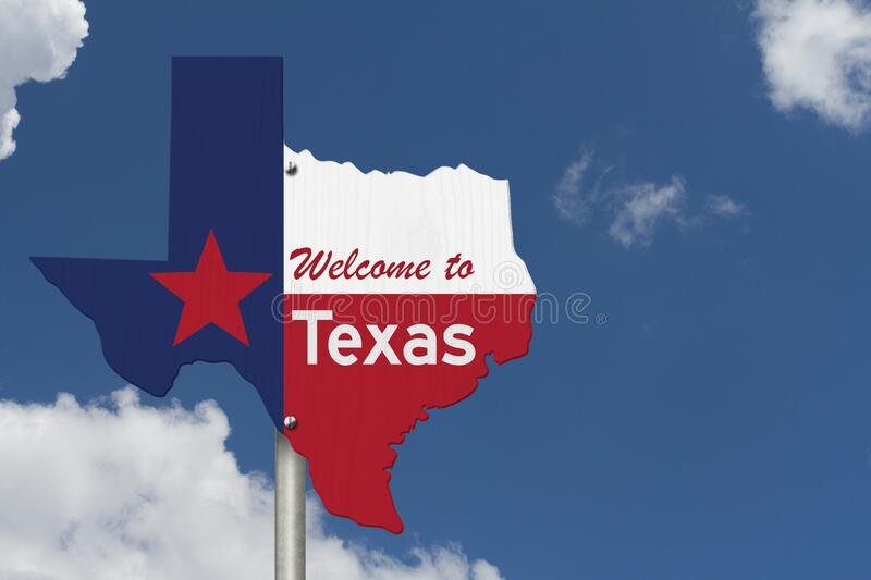 Welcome to the state of Texas road sign in the shape of the state map with the flag. With sky background royalty free stock image