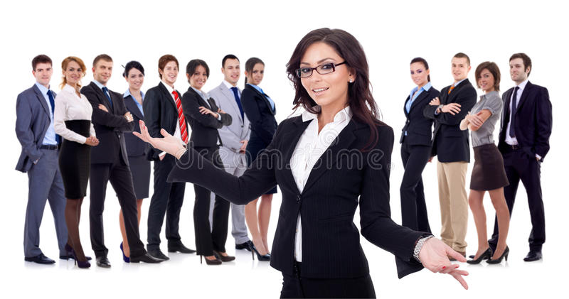 Welcome to the successful happy business team royalty free stock image