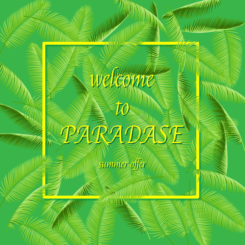 Welcome to summer paradise - Summer holidays and vacation vector illustration. Background with palm tree branches.Vector illustrat vector illustration