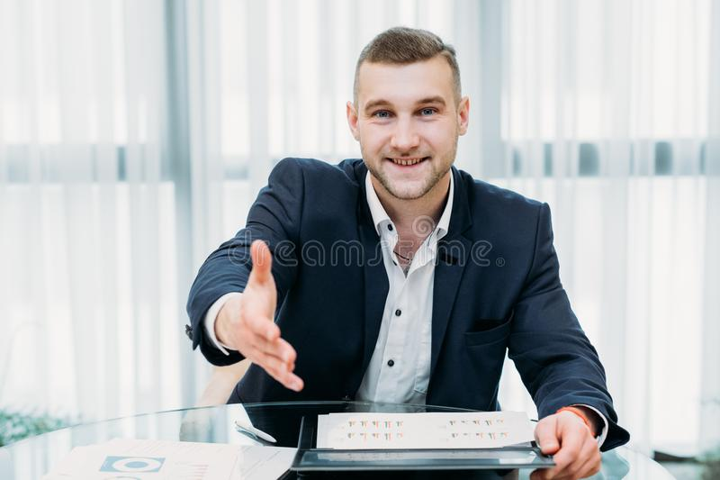 Job hiring recruiter boss holding out hand career. Welcome to the team. job hiring. employment. new professional career beginning. recruiter or boss holding out stock image