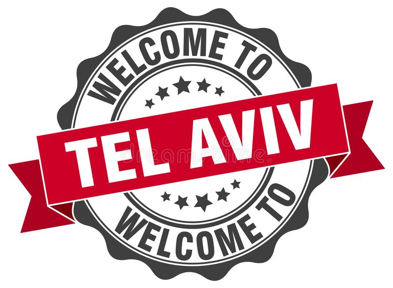 Welcome to Tel Aviv seal. Welcome to Tel Aviv round vintage seal royalty free illustration