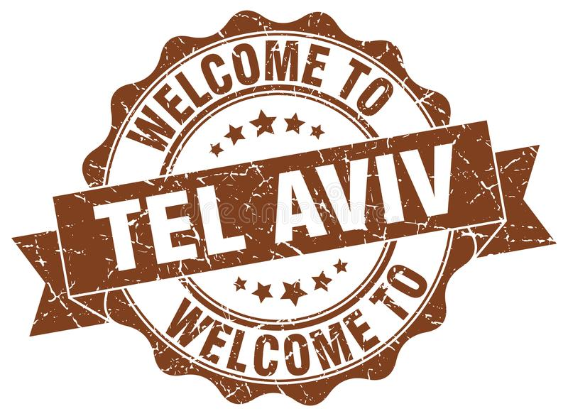 Welcome to Tel Aviv seal. Welcome to Tel Aviv round vintage seal vector illustration