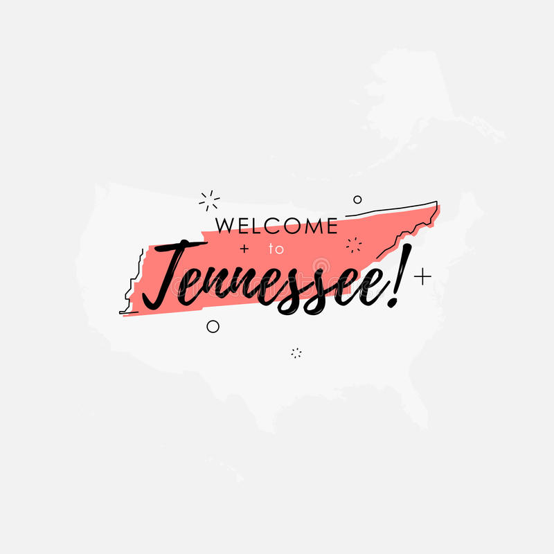 Welcome To Tennessee Bright Pink Sign Stock Illustration