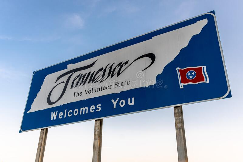 Welcome to Tennessee sign on highway royalty free stock photo