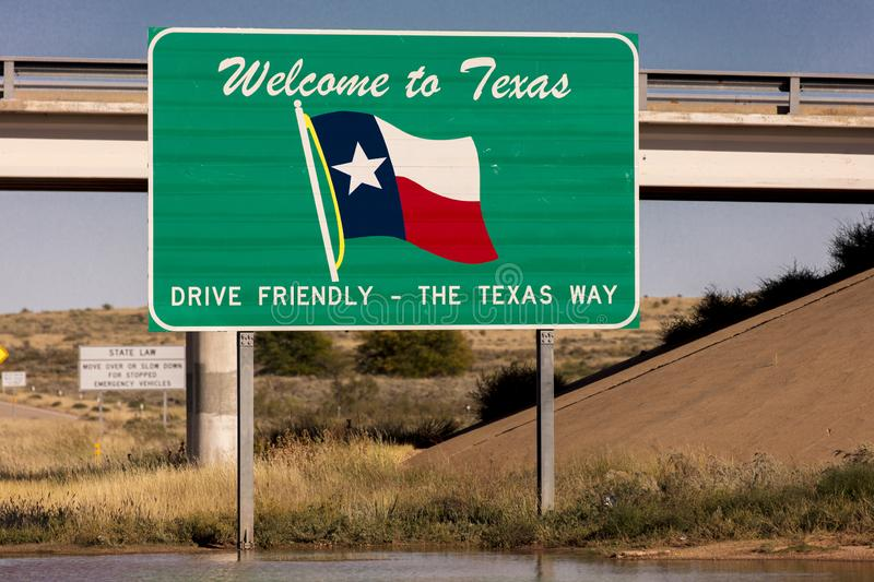 Welcome to Texas State Sign stock image