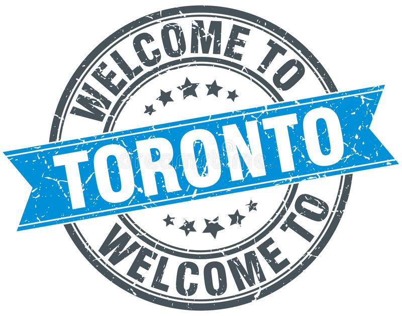 Welcome to Toronto stamp. Welcome to Toronto round grunge stamp isolated on white background. Toronto royalty free illustration