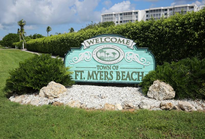 Welcome to the Town of Fort Myers Beach sign. Fort Myers Beach welcome sign greets tourists as they reach Estero Island on the west coast of Florida, a popular stock photo
