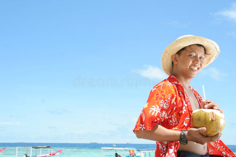 Download Welcome to tropical beach stock photo. Image of hold, happy - 7052460