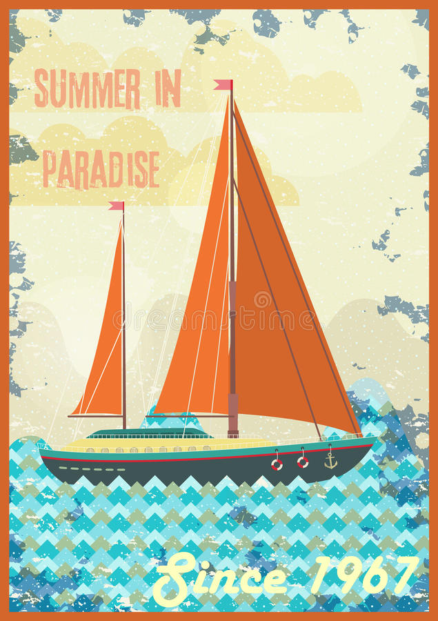 Welcome to tropical paradise vintage poster design royalty free illustration