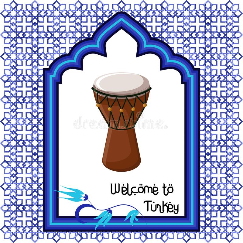 Welcome to Turkey greeting card template with turkish drum, eastern ornament window and text . vector illustration