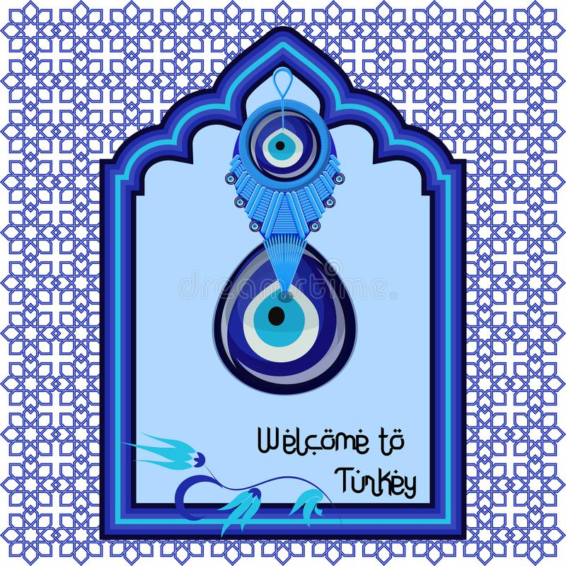 Welcome to Turkey greeting cart template with turkish traditional glass amulet boncuk, evil eye royalty free illustration