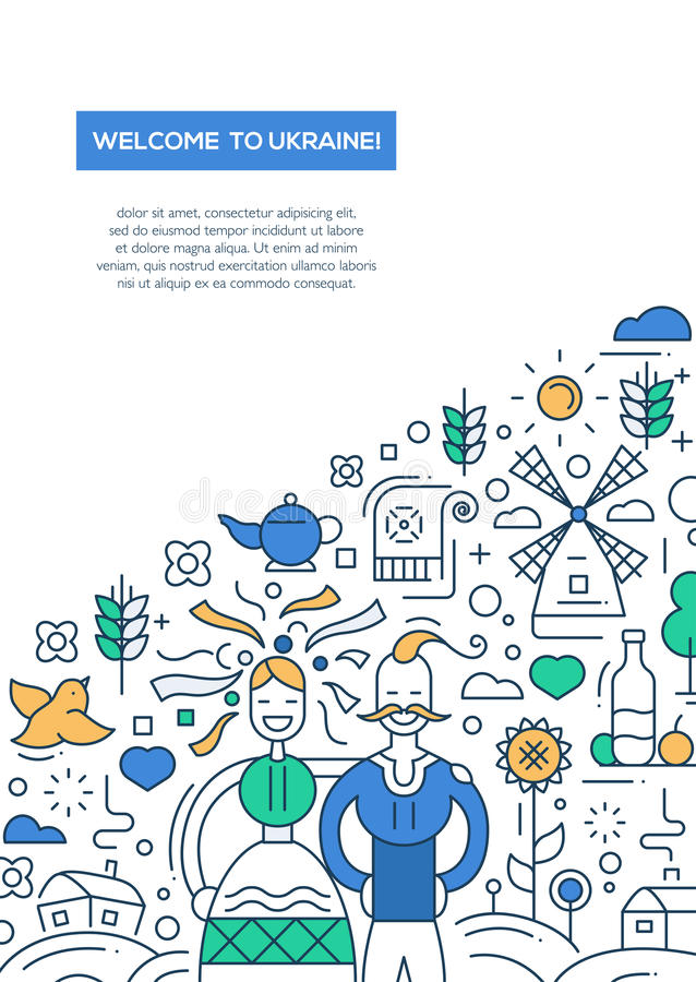 Free Welcome To Ukaine- Line Design Brochure Poster Template A4 Royalty Free Stock Image - 76459606