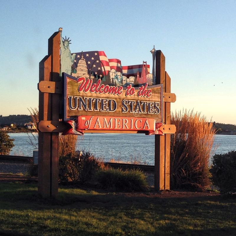 Welcome to the United States of America. Welcome to the United States sign at Peace Arch border crossing royalty free stock images