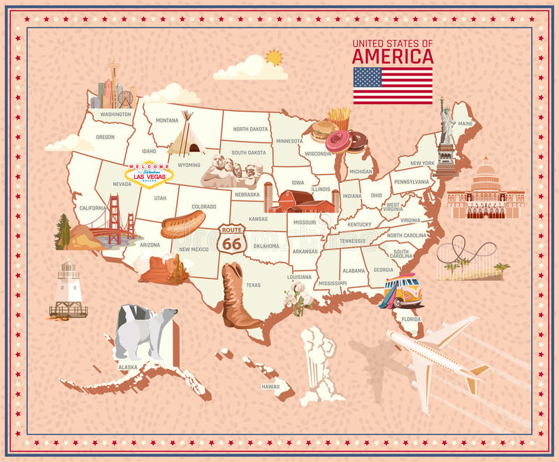Welcome To USA United States Of America Poster With Statue Of - Las vegas us map