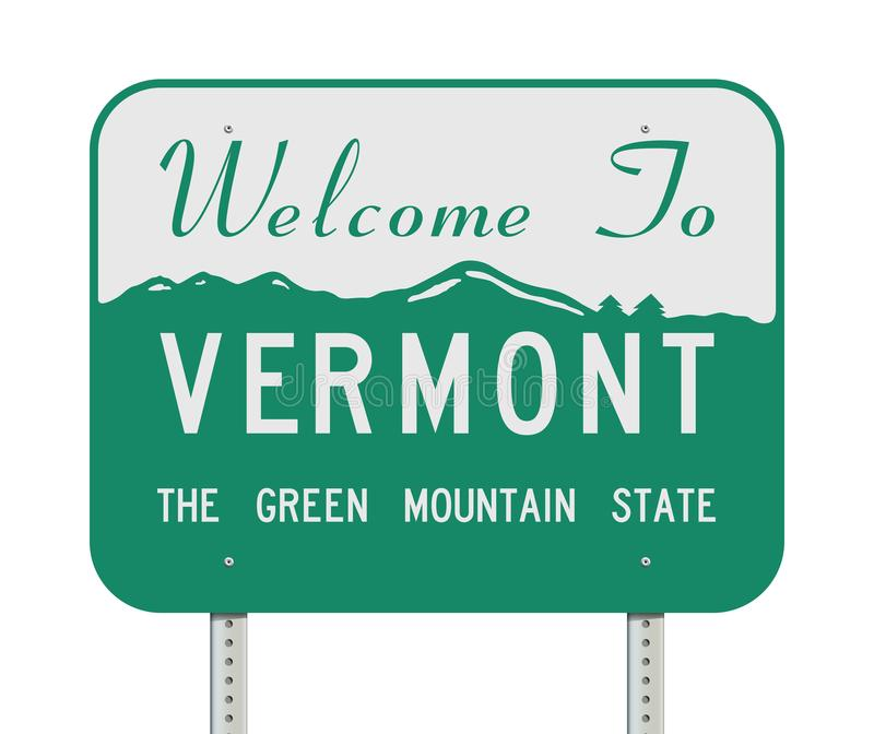 Welcome to Vermont road sign. Vector illustration of the Welcome to Vermont `the green mountain state` road sign stock illustration