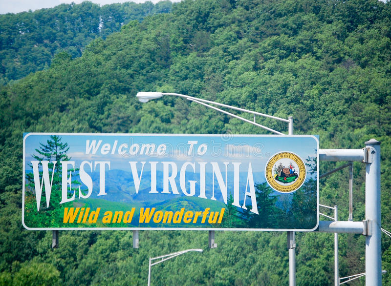 Welcome To West Virginia. State Line Sign stock photos