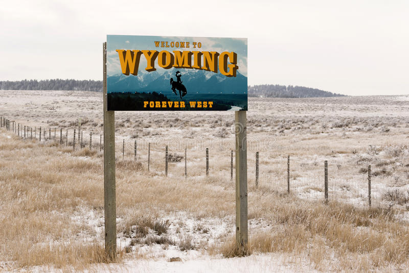 Welcome to Wyoming Forever West State Entry Sign royalty free stock photo