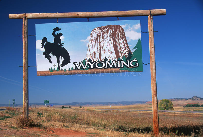 Welcome to Wyoming Sign stock photos