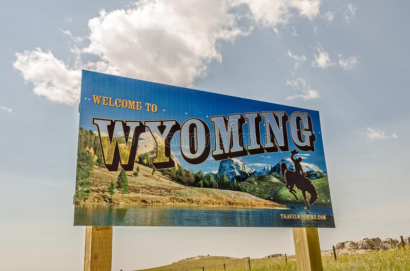 Welcome to Wyoming Sign stock photography