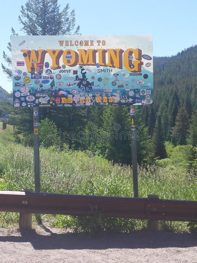 Welcome to Wyoming Sign royalty free stock photography