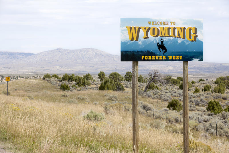 Welcome to Wyoming state sign royalty free stock photos