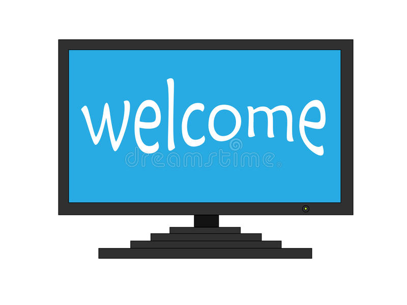Welcome on TV screen. Welcome white letters on TV screen stock illustration