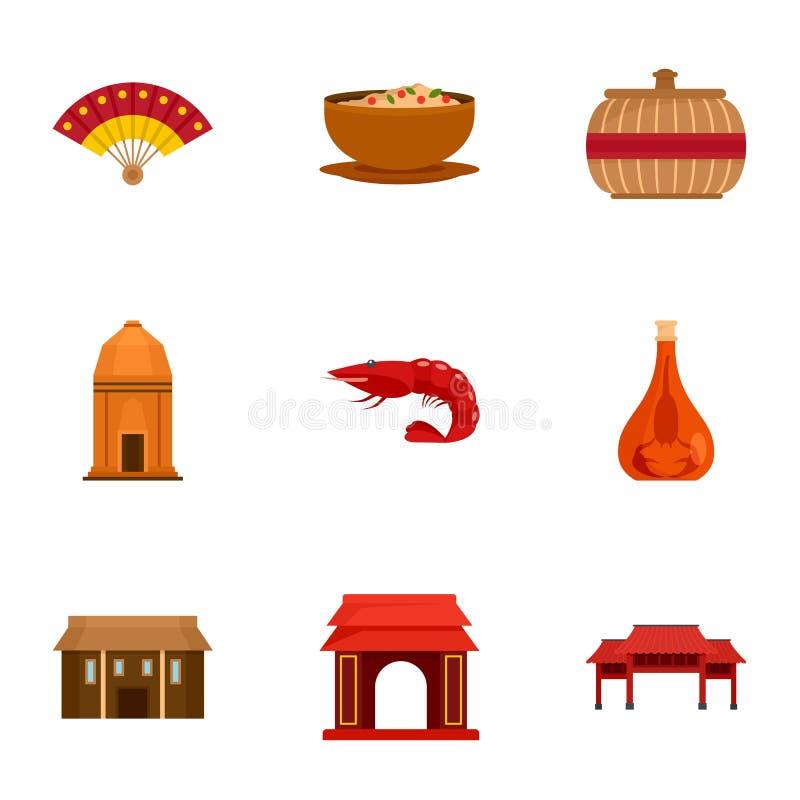 Welcome vietnam icon set, flat style stock illustration