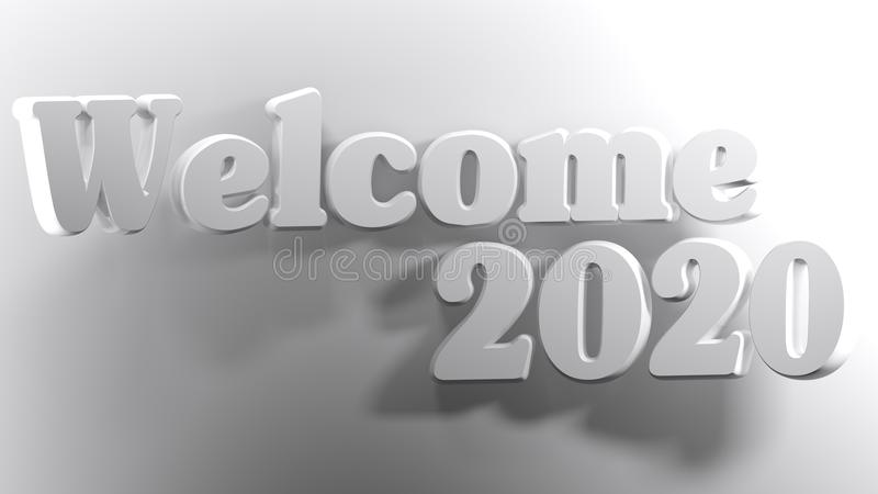 Welcome 2020 white - 3D rendering vector illustration