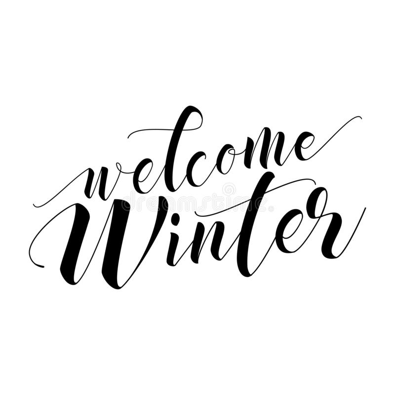 Welcome Winter - lettering text. royalty free illustration