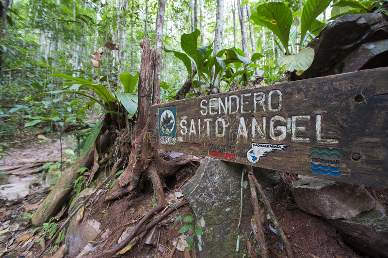 Welcome Wood Sign to the Salto Agencel, Canaima stock photography