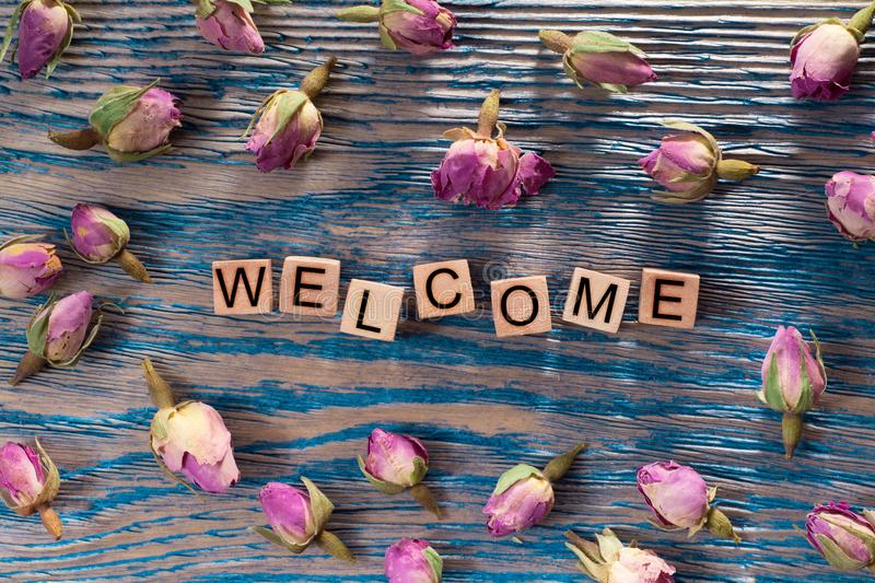 Welcome on wooden cube stock photography