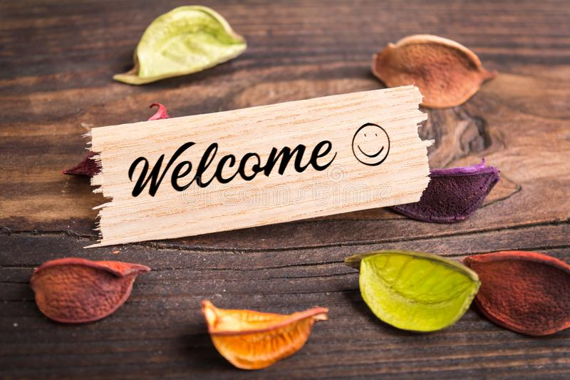 Welcome word in break wood royalty free stock photo