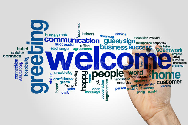 Welcome word cloud. Concept on grey background stock image