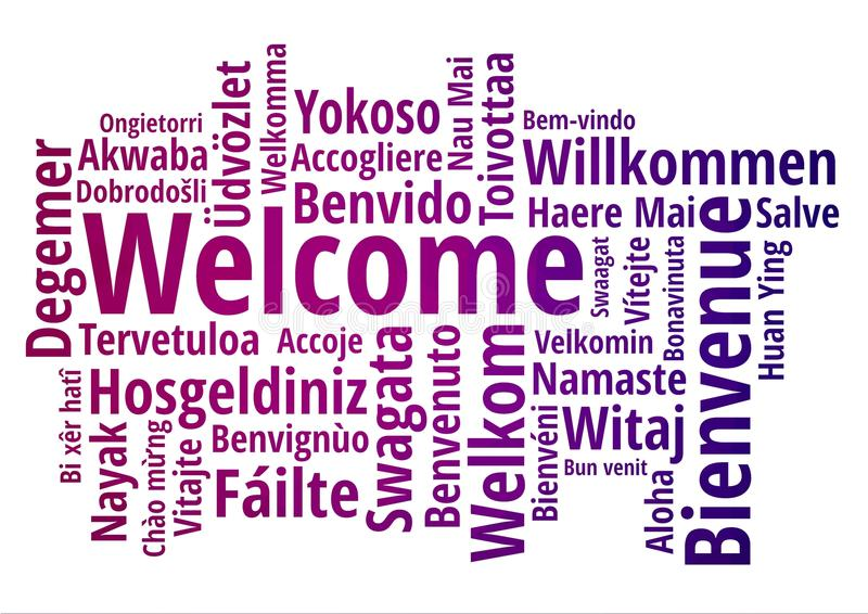 WELCOME word cloud in different languages, concept background stock illustration