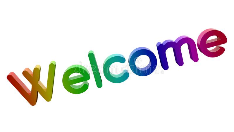 Welcome Word 3D Rendered Text With Round Font Illustration Colored With RGB Rainbow Gradient. Isolated On White Background vector illustration