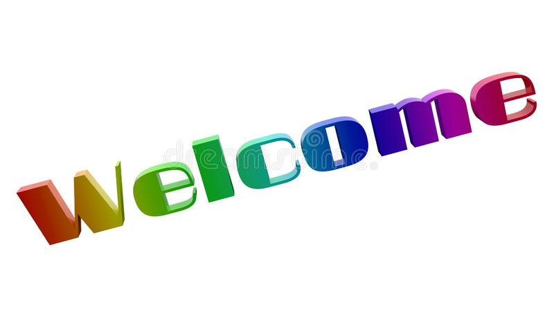 Welcome Word 3D Rendered Text With Techno, Futuristic Font Illustration Colored With RGB Rainbow Gradient. Isolated On White Background vector illustration