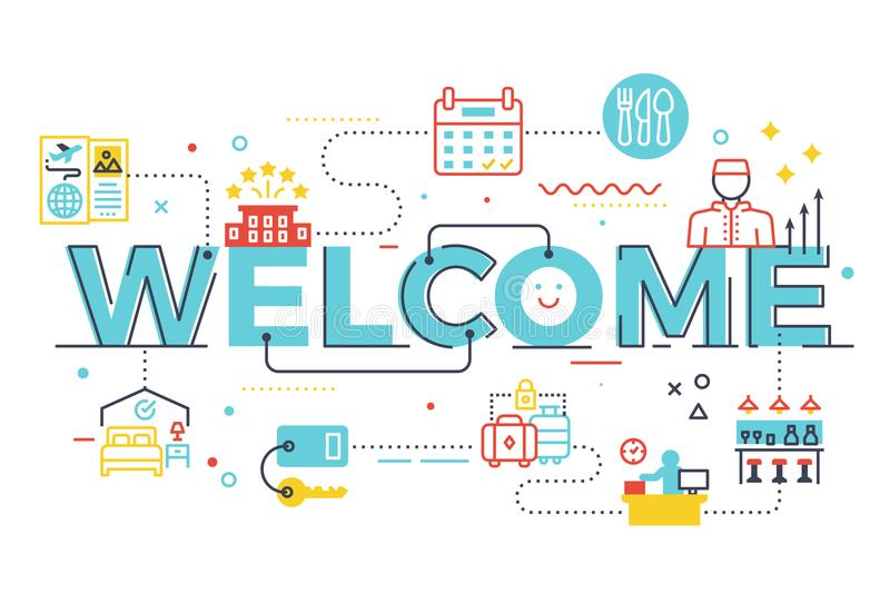 Welcome word lettering illustration. With icons for web banner, landing page, essay, etc royalty free illustration