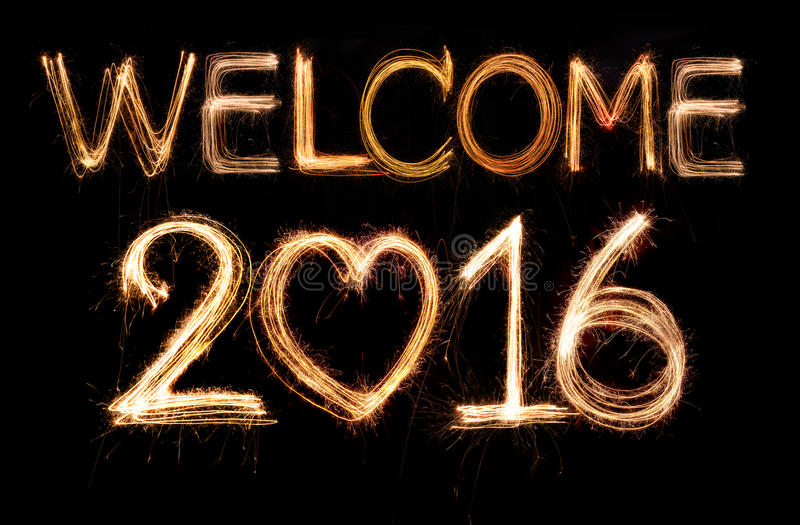 Welcome 2016. Word made from sparkler firework light stock photos