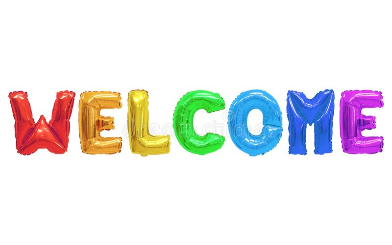 Welcome. Word welcome in english alphabet from colors rainbow balloons on a white background. holidays and education royalty free stock image