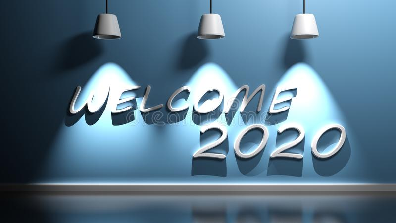 Welcome 2020 write at blue wall with lamps - 3D rendering illustration royalty free illustration
