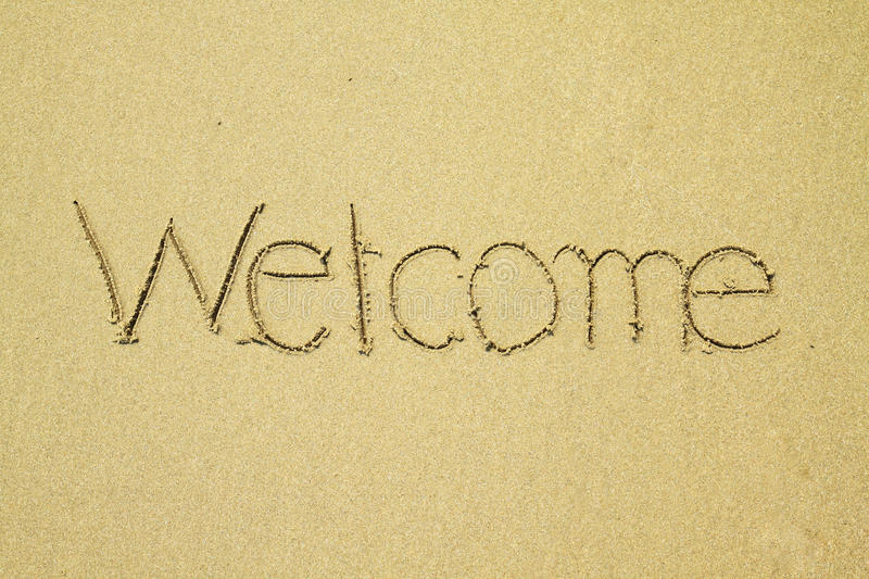 Download Welcome Written On Sand At The Beach Stock Image - Image of imagination, font: 19089233