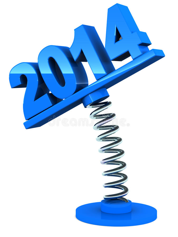 2014 welcome. Welcome 2014 year concept, 2014 over a spring loaded label stock illustration