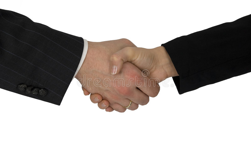 Welcoming with hand pressure. royalty free stock photos