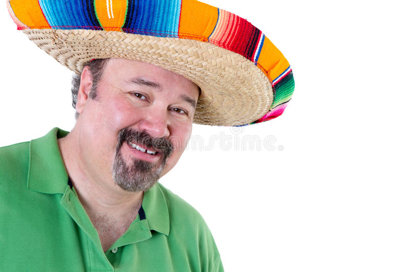 Welcoming Man in Mexican Sombrero with Copy Space. Close up Welcoming Bearded Man in Mexican Sombrero Smiling at the Camera on White Background with Copy Space stock photos