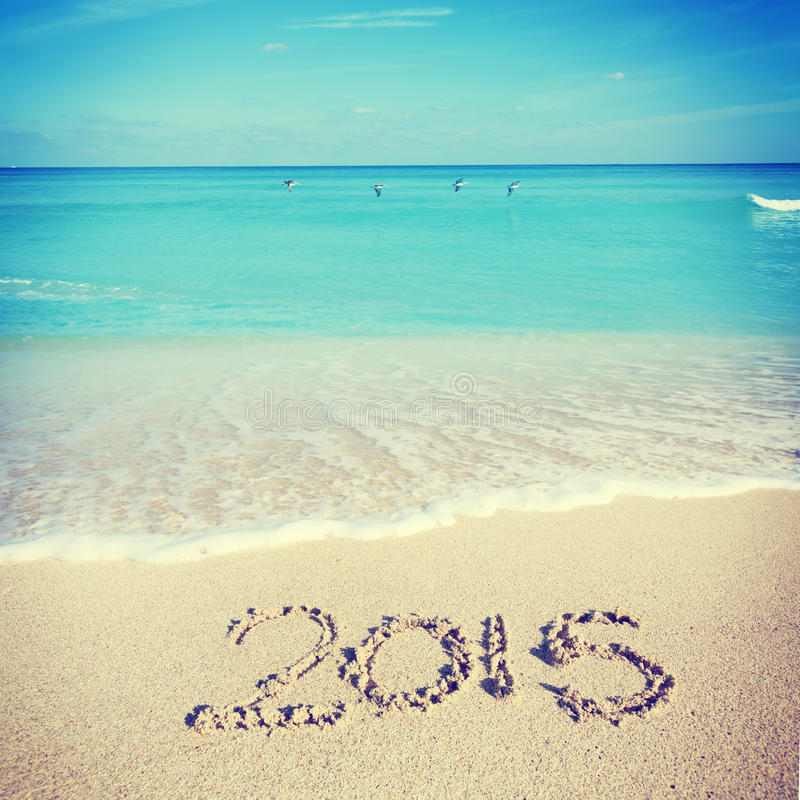 Welcoming the new year of 2015 at the beach. Celebrating 2015 at the beach - Miami royalty free stock image