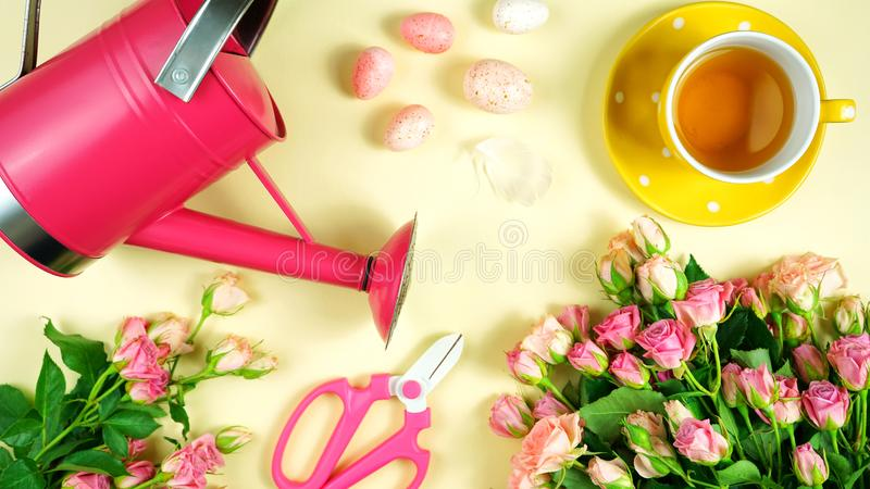 Welcoming Spring concept flatlay tea break with roses and gardening accessories. Welcoming Spring pink and yellow theme concept flat lay tea break with roses royalty free stock photos